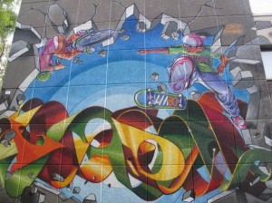 Graffito di Dado alle scuole Besta